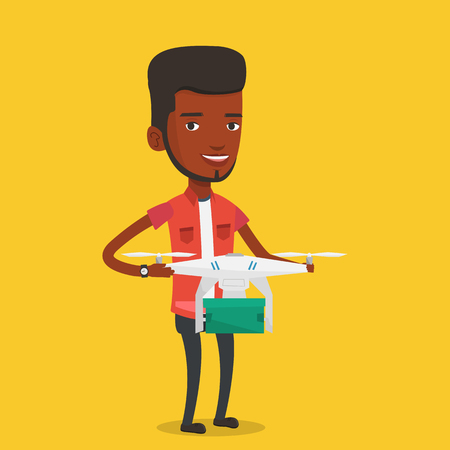 package sending: African-american man controlling delivery drone with post package. Man getting post package from delivery drone. Man sending parcel with delivery drone. Vector flat design illustration. Square layout.