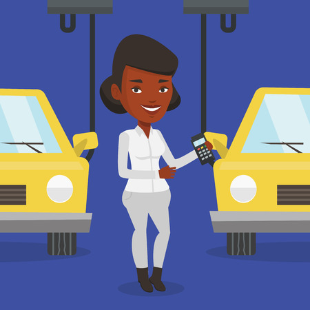 controlling: An african-american worker of car factory. Engineer at work on car factory. Worker controlling modern automated assembly line for cars. Car production. Vector flat design illustration. Square layout