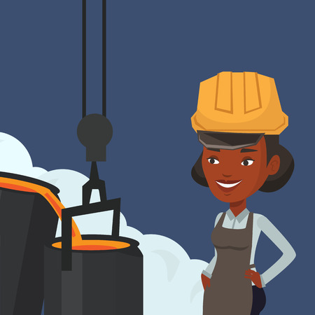 smelting plant: African steelworker in a hardhat at work in the foundry. Steelworker controlling iron smelting in the foundry. Industrial worker in steel making plant. Vector flat design illustration. Square layout. Illustration
