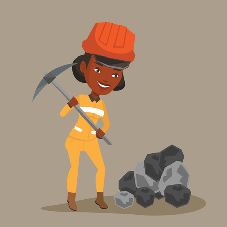 coal mine: An african-american female miner in hard hat working with a pickaxe. Female miner working at the coal mine. Young female miner at work. Vector flat design illustration. Square layout.