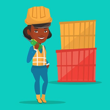 An african port worker in hard hat talking on wireless radio. Port worker standing on cargo containers background. Port worker using wireless radio. Vector flat design illustration. Square layout.  イラスト・ベクター素材