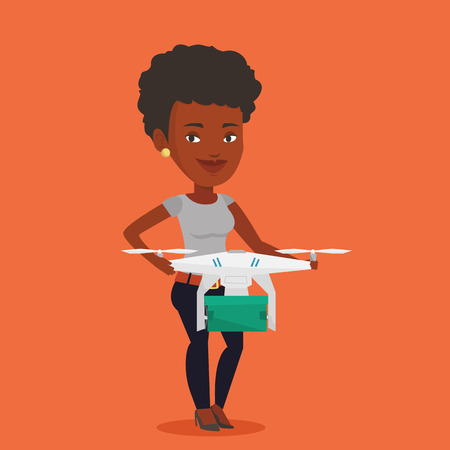 An african woman controlling delivery drone with post package. Woman getting post package from delivery drone. Woman sending parcel with delivery drone. Vector flat design illustration. Square layout. Illustration