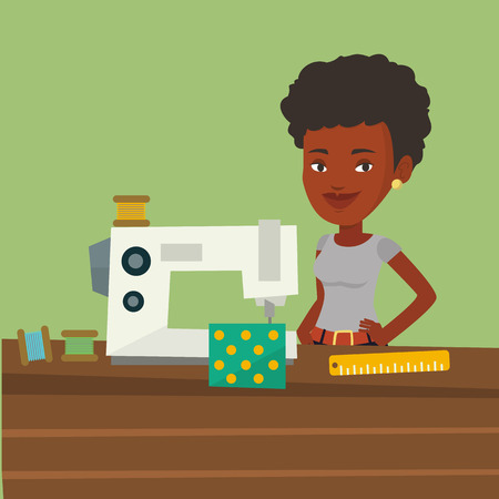 seamstress: African-american seamstress working in a cloth factory. Seamstress sewing on an industrial sewing machine. Seamstress using sewing machine at workshop. Vector flat design illustration. Square layout.
