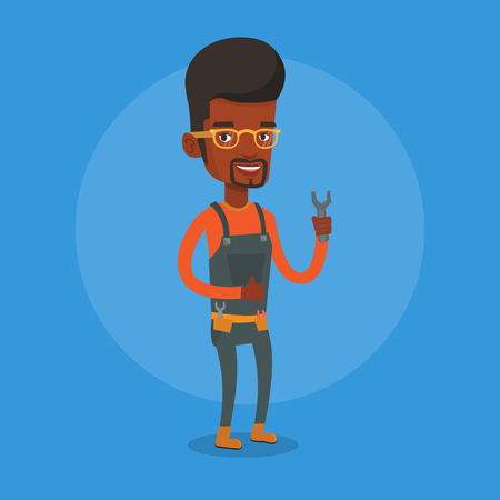 repairman: Young smiling repairman standing with a spanner in hand. An african-american repairman giving thumb up. Repairman in overalls holding a spanner. Vector flat design illustration. Square layout.