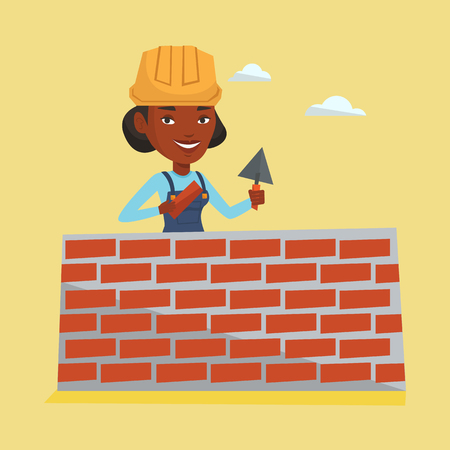Young bricklayer in uniform and hard hat. African-american bicklayer working with spatula and brick on construction site. Bricklayer building brick wall. Vector flat design illustration. Square layout Illustration