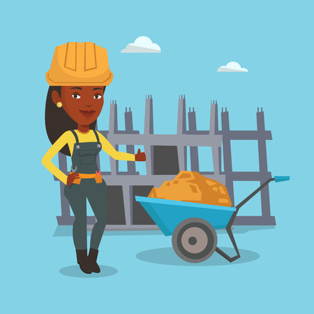 Young builder in hard hat giving thumb up. An african-american builder with thumb up standing near wheelbarrow. Builder at work on construction site. Vector flat design illustration. Square layout. Ilustracja