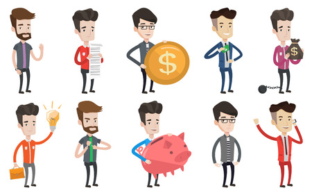 Bankrupt businessman showing his empty pockets. Bankrupt businessman turning his empty pockets inside out. Bankruptcy concept. Set of vector flat design illustrations isolated on white background.  イラスト・ベクター素材