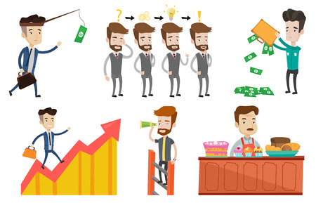 owner money: Young businessman during business planning. Caucasian businessman working on a new business plan. Business planning concept. Set of vector flat design illustrations isolated on white background.