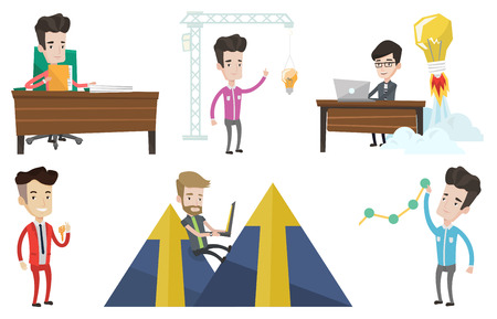 Businessman working on laptop in office and idea bulb taking off behind him. Man having business idea. Business idea concept. Set of vector flat design illustrations isolated on white background.