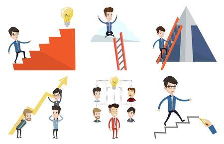career ladder: Caucasian businessman running up the career ladder. Happy businessman climbing the career ladder. Concept of business career. Set of vector flat design illustrations isolated on white background. Illustration