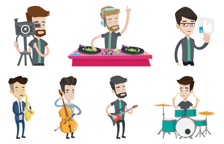 Disc jockey mixing music on turntable. Disc jockey in headphones playing music on turntable. Disc jockey standing at the turntable. Set of vector flat design illustrations isolated on white background