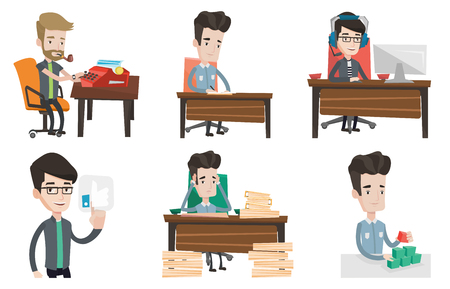 article: Journalist writing an article on a typewriter. Journalist working on typewriter. Journalist smoking pipe during writing an article. Set of vector flat design illustrations isolated on white background