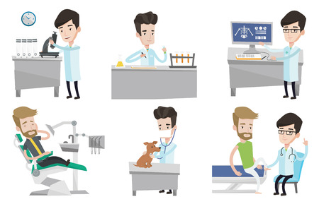 test tube: Laboratory assistant working with test tube. Laboratory assistant analyzing liquid in test tube. Scientist holding test tube. Set of vector flat design illustrations isolated on white background. Illustration