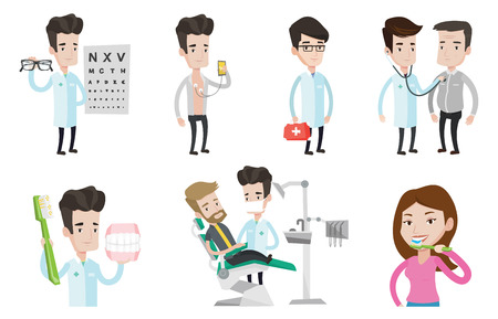 illustration collection: Man sitting in dental chair. Doctor and patient in dental clinic. Patient on reception at the dentist. Patient visiting dentist. Set of vector flat design illustrations isolated on white background.