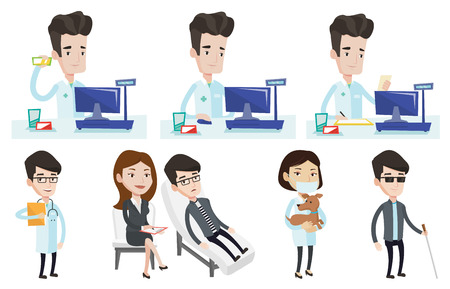 Caucasian pharmacist standing at the counter in the pharmacy. Pharmacist showing some medicine. Pharmacist holding a box of pills. Set of vector flat design illustrations isolated on white background. 向量圖像