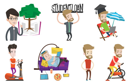 man holding sign: Caucasian man holding sign of student loan. Young man carrying heavy sign - student loan. Student working on a laptop outdoors. Set of vector flat design illustrations isolated on white background.