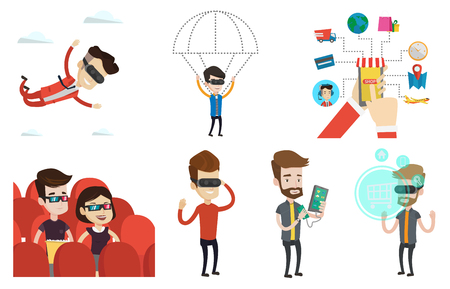 purchasing power: Man in virtual reality headset flying in the sky. Man in virtual reality headset doing shopping. Man flying in virtual reality. Set of vector flat design illustrations isolated on white background. Illustration