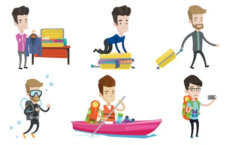 suitcase packing: Caucasian man sitting on suitcase and trying to close it. Man packing his clothes in suitcase. Man preparing suitcase for vacation. Set of vector flat design illustrations isolated on white background
