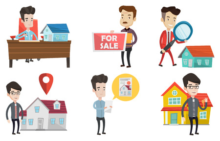 Happy new owner of house signing home purchase contract. Caucasian real estate agent signing home purchase contract in office. Set of vector flat design illustrations isolated on white background. Illustration