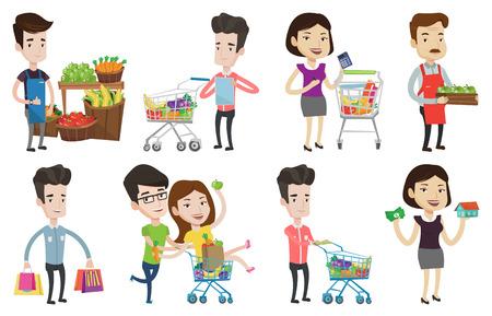 mujer en el supermercado: Joven mujer de pie cerca de la carretilla con productos de supermercado. Mujer de compras en el supermercado. Trabajador de la tienda de comestibles que da el pulgar para arriba. Conjunto de ilustraciones vectoriales de diseño plano aisladas sobre fondo blanco.