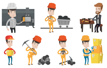 Miner in hard hat working with a pickaxe. Miner working at the coal mine. Miner holding coal in hands. Shoemaker repairing a shoe. Set of vector flat design illustrations isolated on white background. Çizim