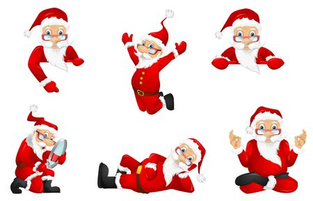 Set of joyful Santa Claus characters posing with white blank placard. Set of Santa Claus holding white billboard. Santa Claus showing empty board. Vector illustration isolated on white background.