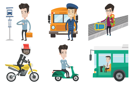 Bus driver sitting at steering wheel. Man driving passenger bus. School bus driver waving. Man picking up luggage on conveyor belt. Set of vector flat design illustrations isolated on white background