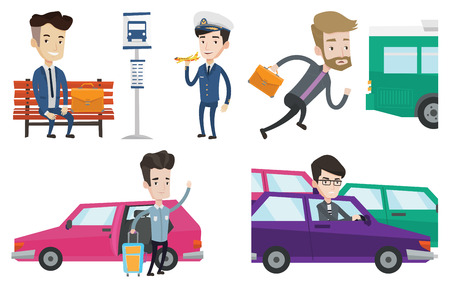 the traffic jam: Caucasian man with suitcase standing on the background of car. Irritated man driving a car in a traffic jam. Man traveling by car. Set of vector flat design illustrations isolated on white background. Illustration