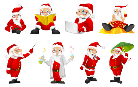 playing video game: Set of funny Santa Claus characters playing video game with gaming console in hands. Set of Santa Claus characters playing video game on a laptop. Vector illustration isolated on white background.