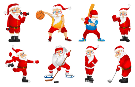 Set of sporty Santa Claus characters playing sports games. Set of cute Santa Claus characters dressed as sportsmen. Santa Claus playing basketball. Vector illustration isolated on white background. Stock Illustratie