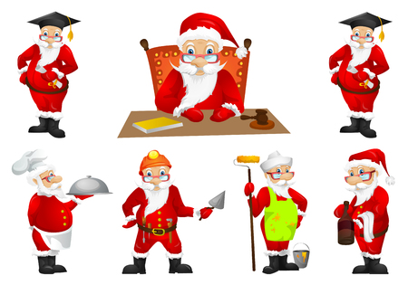 Set of Santa Claus in graduation cap holding diploma. Set of Santa Claus of different professions such as judge, house painter, waiter, bartender. Vector illustration isolated on white background.