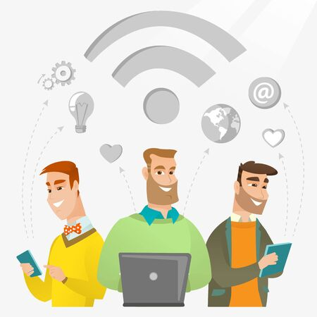 Group of young happy caucasian businessmen using technology in global business. Global business and globalization concept. Business technology concept. Vector flat design illustration. Square layout.