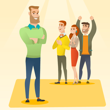 applauding: Audience applauding at business conference. Caucasian businessmen applauding at business seminar. Cheerful businessmen applauding during presentation. Vector flat design illustration. Square layout.
