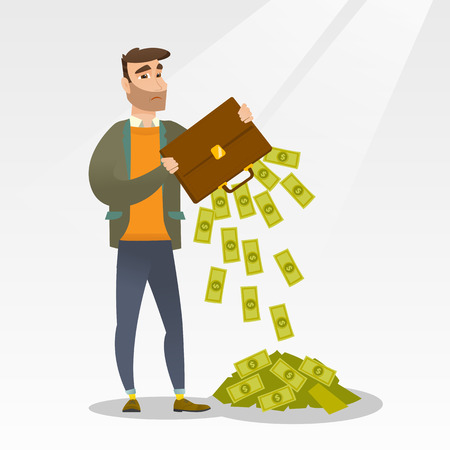 emptying: Depressed caucasian bankrupt businessman shaking out money from his briefcase. Despaired bankrupt businessman emptying a briefcase. Bankruptcy concept. Vector flat design illustration. Square layout. Illustration