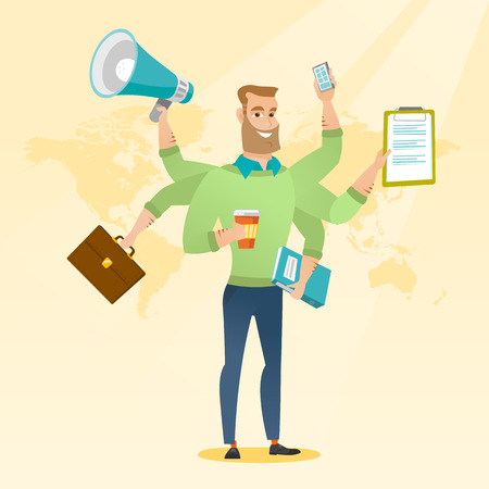 overload: Caucasian man with many legs and hands coping with multitasking. Businessman doing multiple tasks. Multitasking business person. Multitasking concept. Vector flat design illustration. Square layout.