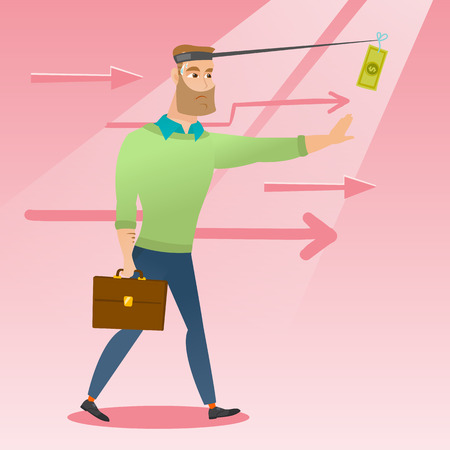 sweaty: Money on fishing rod as motivation for businessman. Caucasian businessman motivated by money hanging on fishing rod. Concept of business motivation. Vector flat design illustration. Square layout.