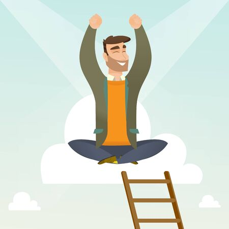 Caucasian happy businessman sitting on a cloud with ledder. Successful businessman relaxing on a cloud. Businessman with rised hands sitting on a cloud. Vector flat design illustration. Square layout.