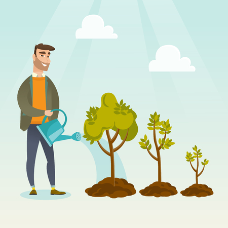 investor: Caucasian business investor watering trees of three sizes. Business investor watering plants with watering can. Business growth and investment concept. Vector flat design illustration. Square layout. Illustration