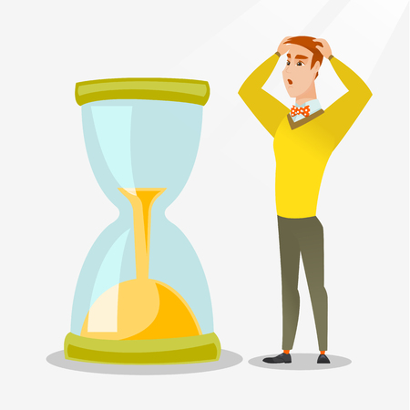 worrying: Caucasian businessman looking at hourglass symbolizing deadline. Young businessman worrying about deadline terms. Time management and deadline concept. Vector flat design illustration. Square layout. Illustration