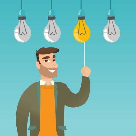 Caucasian businessman switching on hanging idea light bulb. Young cheerful businessman pulling a light switch. Business idea concept. Vector flat design illustration isolated on white background. Illustration