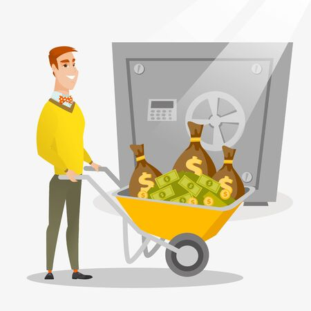 Rich businessman depositing his money in bank in the safe. Young cheerful businessman pushing wheelbarrow full of money on the background of big safe. Vector flat design illustration. Square layout. Illustration