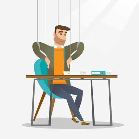 controlled: Businessman hanging on strings like a marionette. Businessman marionette on ropes sitting in office. Emotionless marionette man working. Vector flat design illustration isolated on white background.