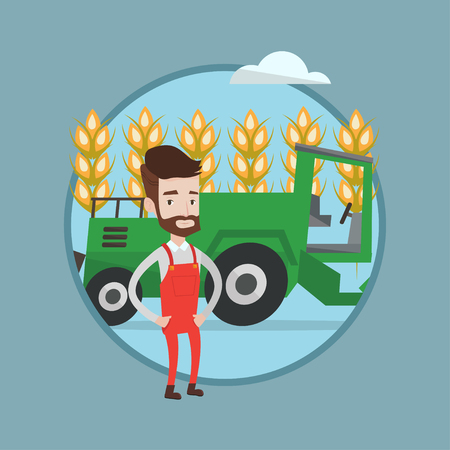 Hipster caucasian farmer with beard standing on the background of combine working in wheat field. Combine harvesting wheat. Vector flat design illustration in the circle isolated on background.