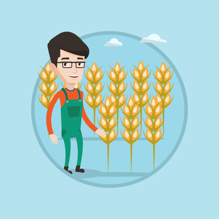 checking: Farmer standing on the background of wheat field. Smiling caucasian farmer working in wheat field. Farmer checking wheat harvest. Vector flat design illustration in the circle isolated on background. Illustration
