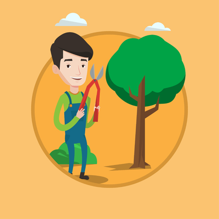 prune: Gardener holding pruner. Gardener is going to trim branches of a tree with pruner. Gardener working in the garden with pruner. Vector flat design illustration in the circle isolated on background.