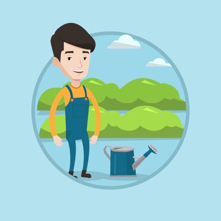 農家緑の茂みで農業分野のバック グラウンドの水まき缶近くに立っています。農家の庭で水まき植物。ベクター背景に分離されたサークルでフラッ