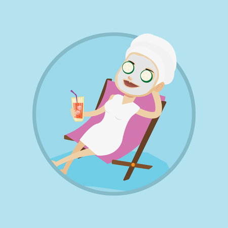 Woman with face mask and towel on her head lying in beauty salon. Woman relaxing in beauty salon. Girl getting beauty treatments. Vector flat design illustration in the circle isolated on background. Illustration