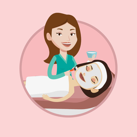 Cosmetologist applying cosmetic mask on face of client in beauty salon. Woman lying on table in salon during cosmetology procedure. Vector flat design illustration in the circle isolated on background