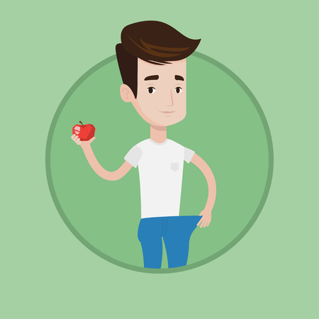 Young happy man on a diet. Slim man with apple in hand showing the results of his diet. Concept of dieting and healthy lifestyle. Vector flat design illustration in the circle isolated on background. 일러스트