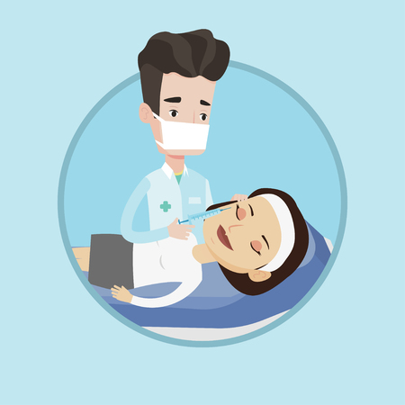 Woman lying on couch in beauty salon and getting cosmetic dermal injection in her face. Doctor making beauty injection to client. Vector flat design illustration in the circle isolated on background.